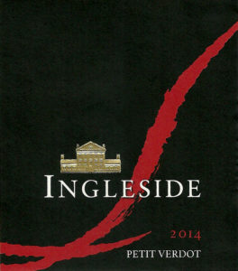 Ingleside Petit Verdot 2014 label